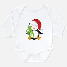 Tuba Christmas Music Penguin Long Sleeve Infant Bo