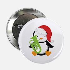 """Tuba Christmas Music Penguin 2.25"""" Button"""