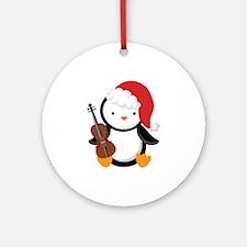 Violin Christmas Penguin Ornament (Round)