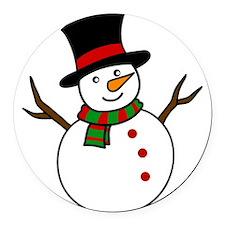 Snowman Round Car Magnet