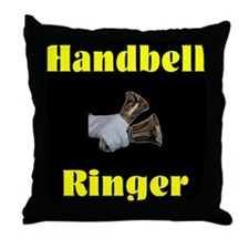 Handbell Ringer Black Throw Pillow