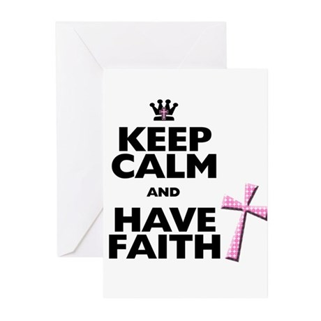 Keep Calm and Have Faith - pink polka-dots Greetin