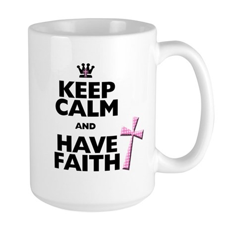 Keep Calm and Have Faith - pink polka-dots Large M