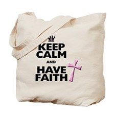 Keep Calm and Have Faith - pink polka-dots Tote Ba