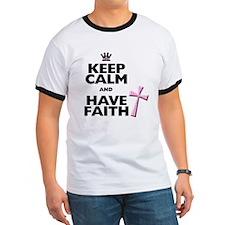 Keep Calm and Have Faith - pink polka-dots T