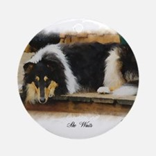 Tri Color Collie Ornament (Round)