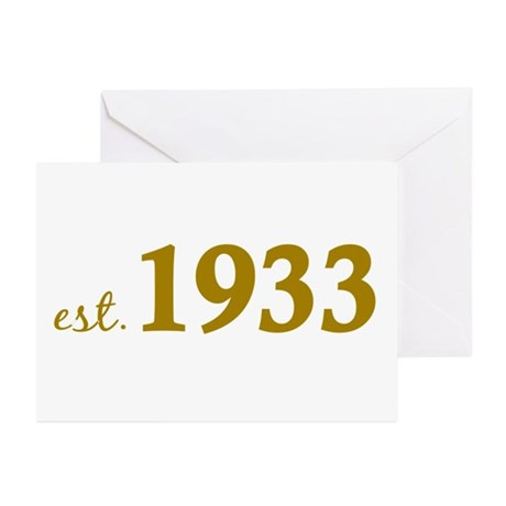 Est 1933 (Born in 1933) Greeting Cards (Pk of 10)
