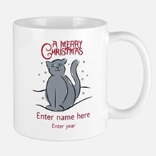 Personalized Christmas Cat Small Small Mug