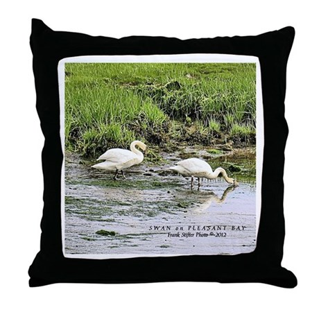 Swan on Pleasant Bay Throw Pillow