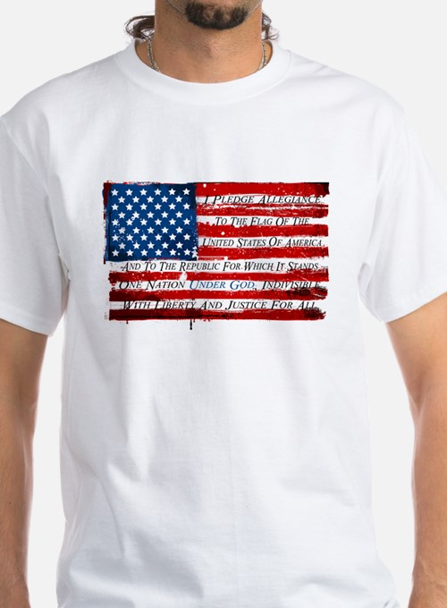 Patriotic Pledge of Allegiance USA Flag T-Shirt