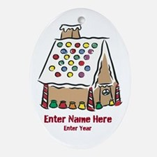 Personalized Gingerbread House Ornament (Oval)
