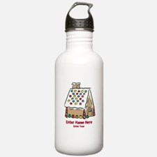 Personalized Gingerbread House Water Bottle