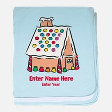 Personalized Gingerbread House baby blanket
