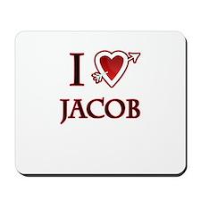 i love jacob heart Mousepad