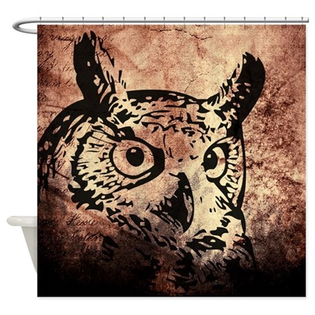 Old World Parchment Owl Shower Curtain
