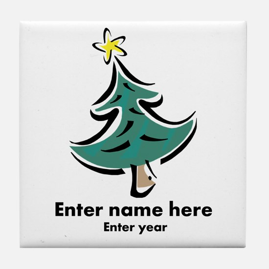 Personalized Christmas Tree Tile Coaster