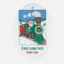 Personalized Santa Train Ornament (Oval)