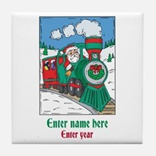 Personalized Santa Train Tile Coaster