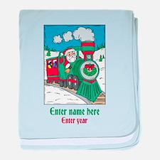 Personalized Santa Train baby blanket