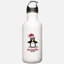 Personalized Christmas Penguin Water Bottle