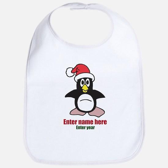 Personalized Christmas Penguin Bib