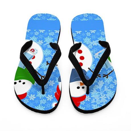 Snowman and Snowflakes Flip Flops