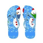 Snowman and Snowflakes Flip Flops