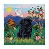 Black pug tile coaster Drink Coasters