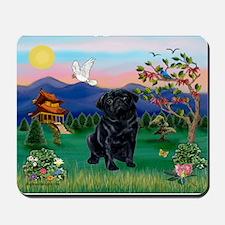 Pagoda & Black Pug Mousepad