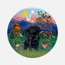 Pagoda & Black Pug Ornament (Round)