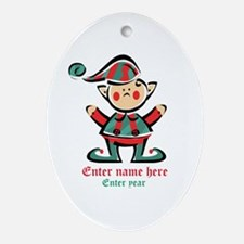Personalized Christmas Elf Ornament (Oval)