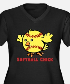 Softball Chick Women's Plus Size V-Neck Dark T-Shi