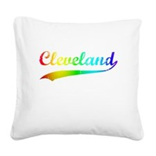 Cleveland, Rainbow, Square Canvas Pillow