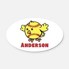 Personalized Softball Chick Oval Car Magnet