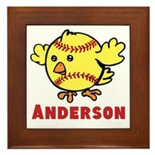 Personalized Softball Chick Framed Tile
