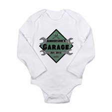 Personalized Garage Long Sleeve Infant Bodysuit