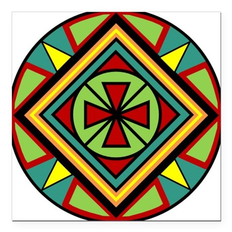 Beautiful geometic celtic cross design 8 Square Ca