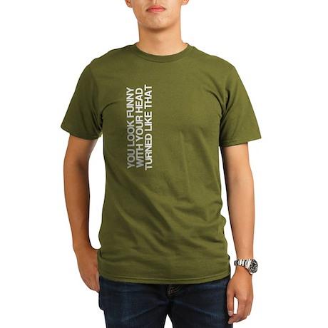 Funny, Head Turned, Organic Men's T-Shirt (dark)