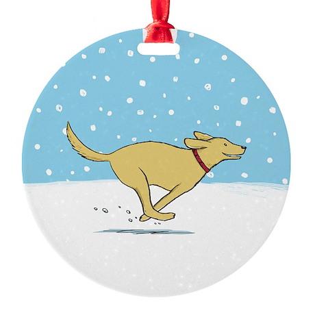 Labrador Snow Holiday Round Ornament