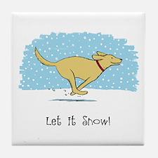 Labrador Snow Holiday Tile Coaster