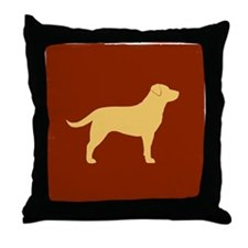 Yellow Lab on Red with Grunge Edges Throw Pillow