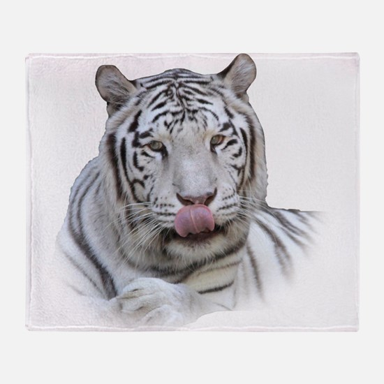 White Tiger Licking Lips Throw Blanket