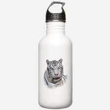White Tiger Licking Lips Water Bottle