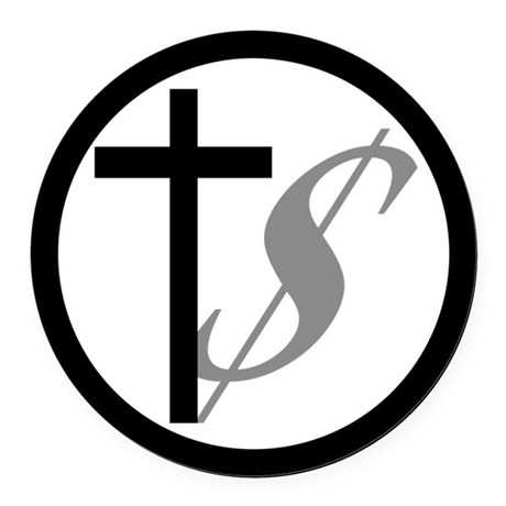 Atheist, Church and Money Round Car Magnet