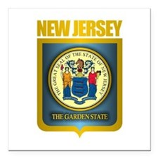 "New Jersey Seal (B) Square Car Magnet 3"" x 3"""