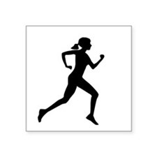 "runner girl Square Sticker 3"" x 3"""