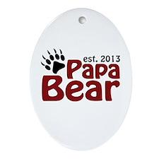 Papa Bear New Dad 2013 Ornament (Oval)