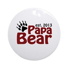 Papa Bear New Dad 2013 Ornament (Round)