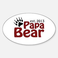 Papa Bear New Dad 2013 Sticker (Oval)