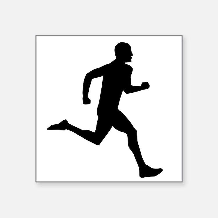 "Running Guy Square Sticker 3"" x 3"""